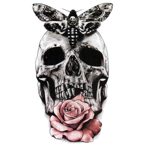 Tatouage éphémère tête de mort avec une rose