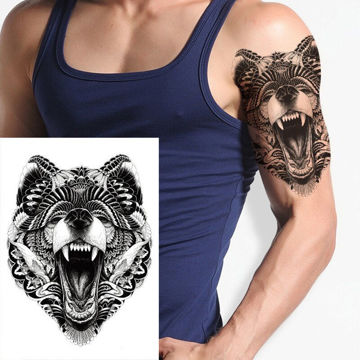 tatouage éphémère tête de loup