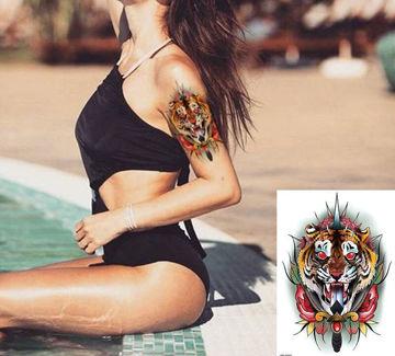 tatouage temporaire tête de  tigre
