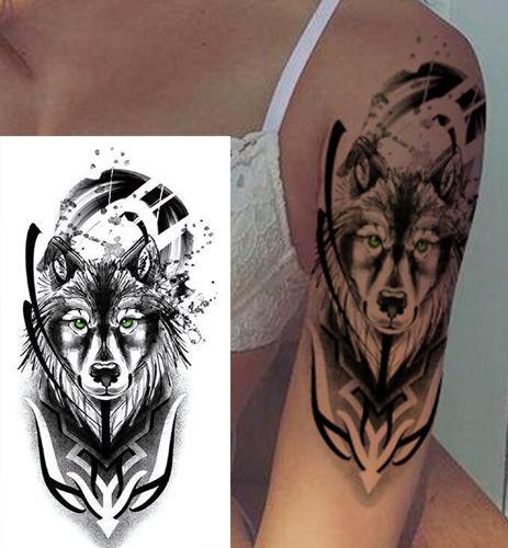 tatouage temporaire tête de loup