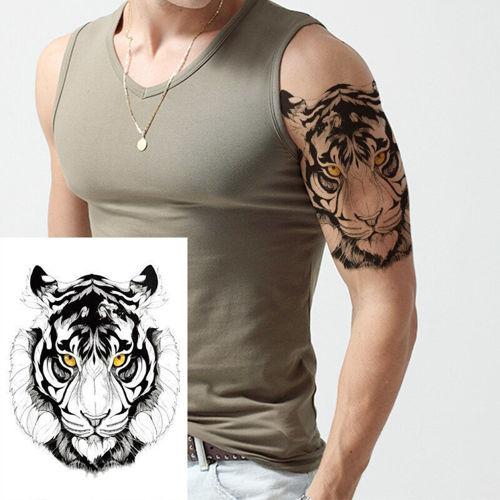 tatouage temporaire tête de loup coloré
