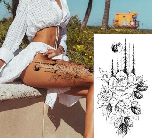 tatouage éphémère fleurs et loup