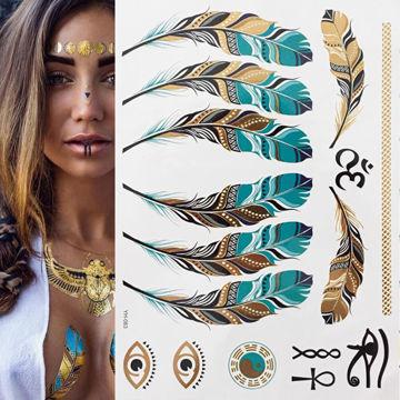 Tatouage éphémère plumes dorées