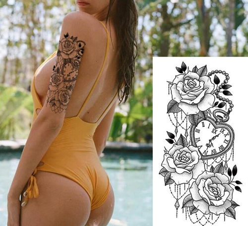 tatouage temporaire de 3 roses et pendule