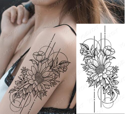 tatouage temporaire fleur stylisée