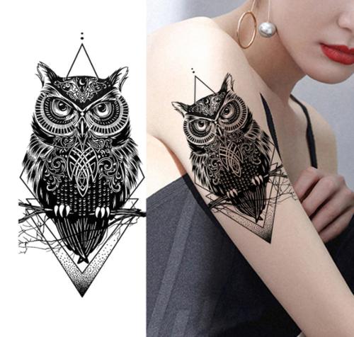 tatouage temporaire hibou
