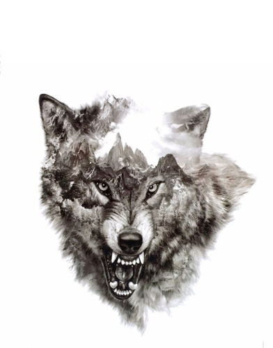 faux tatouage tête de loup
