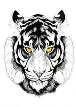 tatouage éphémère tête de tigre coloré