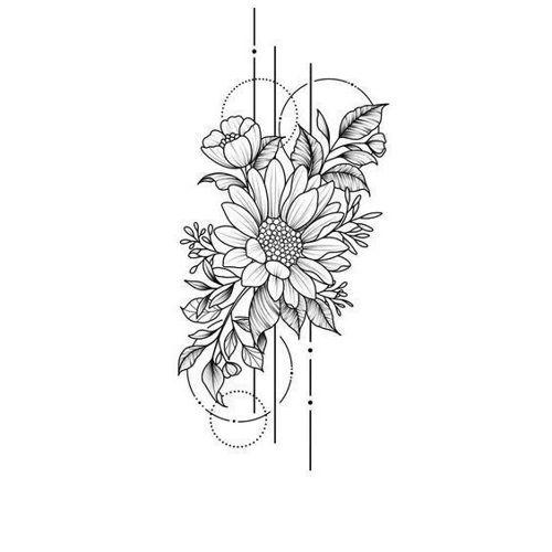 tatouage éphémère fleur stylisée