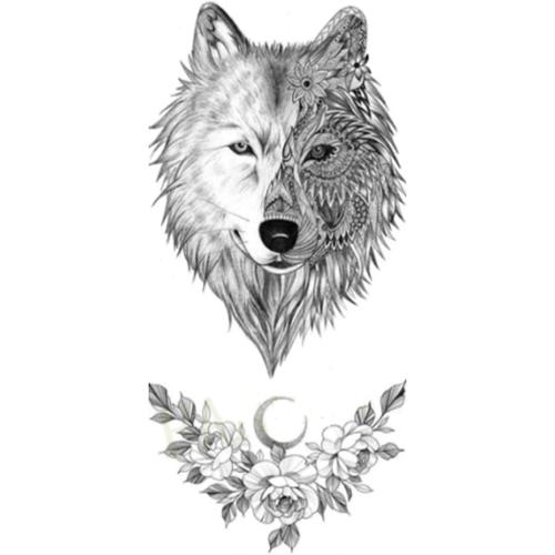 Tatouage éphémère tête de loup et fleurs