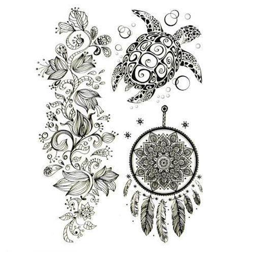 tatouage éphémère tortue et attrape-rêves