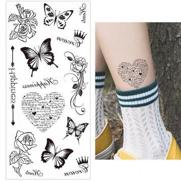 Tatouage éphémère papillons et coeur