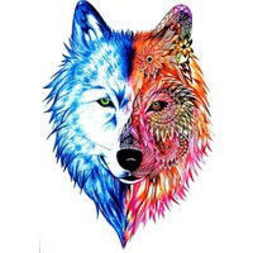 tatouage temporaire tête de loup colorée