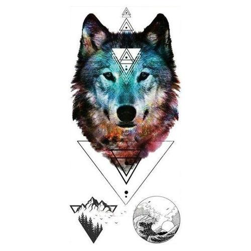 tatouage éphémère tête de loup colorée