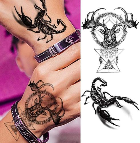 faux tatouage scorpion et cerf