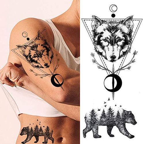 tatouage temporaire ours et loup