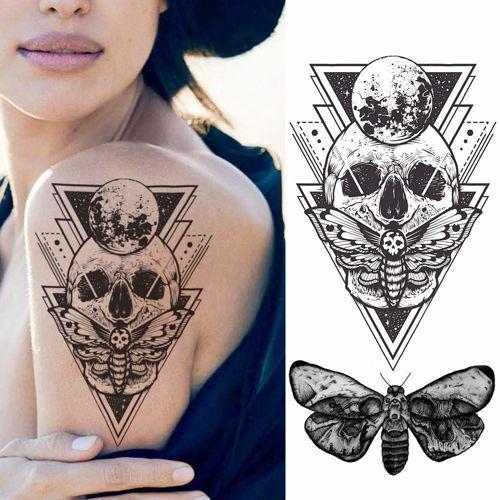 tatouage éphémère tête de mort et papillon