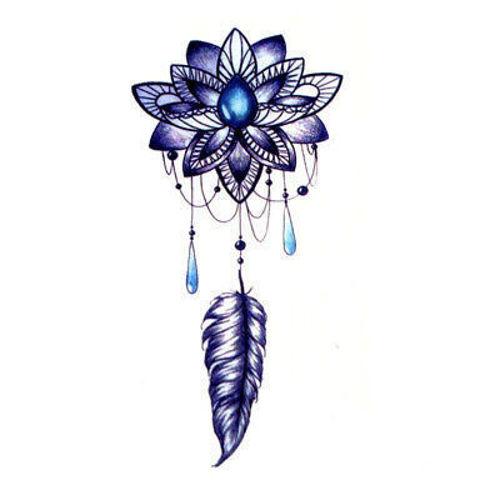 Tatouage éphémère Fleur de Lotus Bleu et Plume