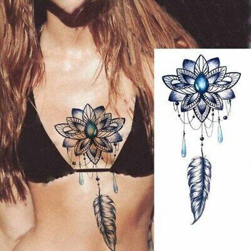 Tatouage éphémère Fleur de Lotus Bleu et Plume femme