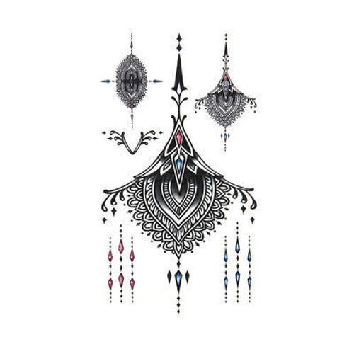 tatouage éphémère mandalas colorées