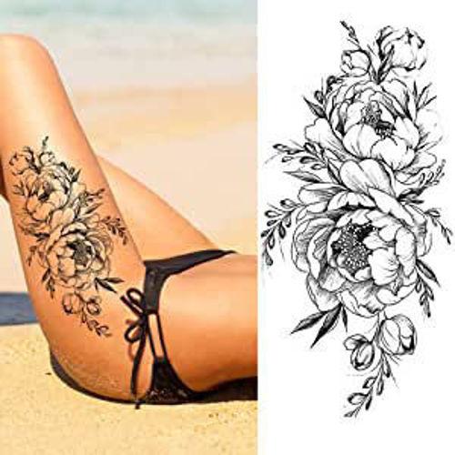 tatouage éphémre pivoines
