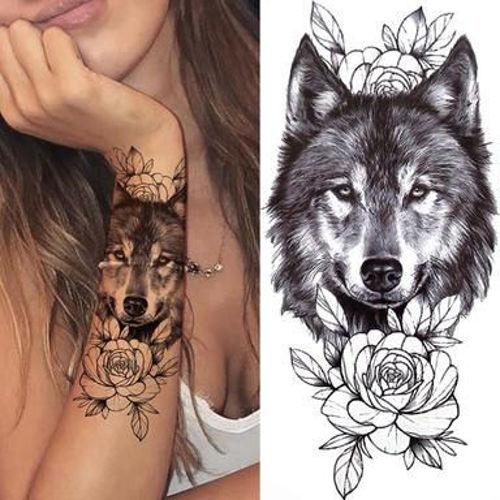 Image de Tatouage éphémère tête de loup et fleurs 20 x 9 cm