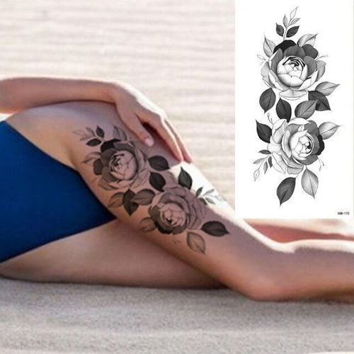 tatouage éphémère femme fleur de pivoine