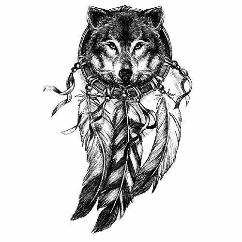 tatouage éphémère loup attrape rêve