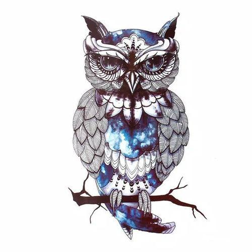 tatouage éphémère hiboux bleu