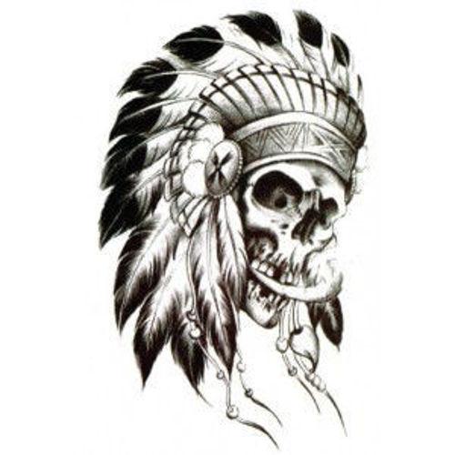 tatouage éphémère indien tête de mort