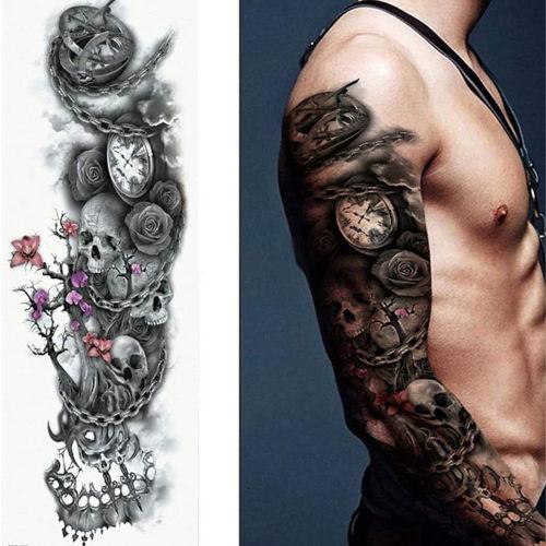 Tatouage éphémère manchette tête de mort et horloge