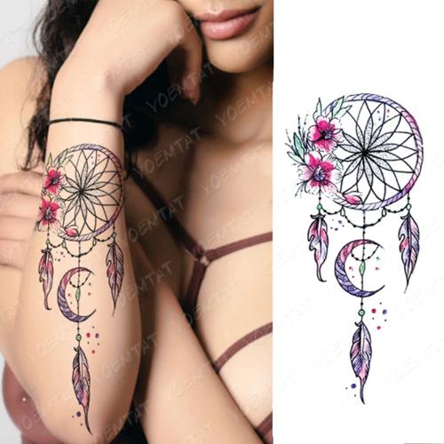 tatouage éphémère bras attrape rêve rose