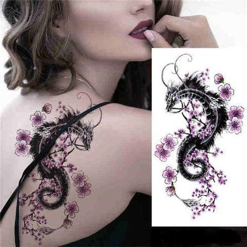 Tatouage éphémère dragon fleur rose