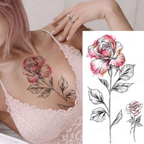 tatouage éphémère grande rose