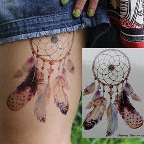 tatouage éphémère attrape rêves plumes 1