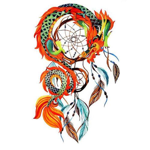 tatouage éphémère attrape rêve dragon