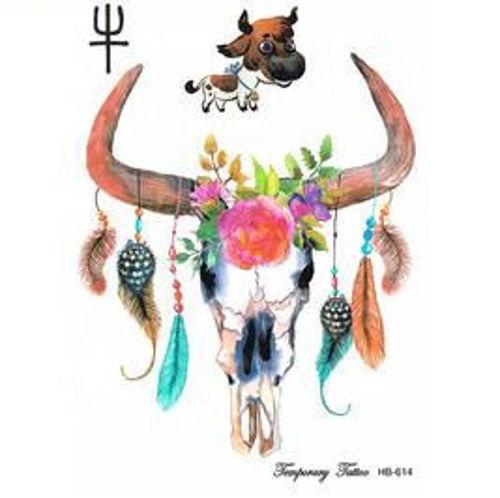 tatouage éphémère tête de buffle et plumes