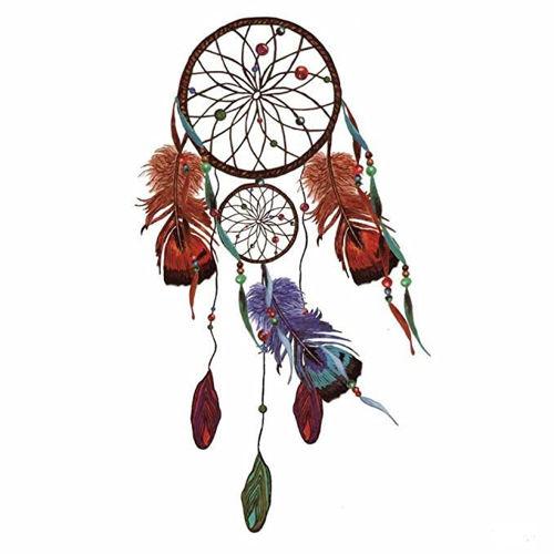 tatouage éphémère attrape rêve et plumes