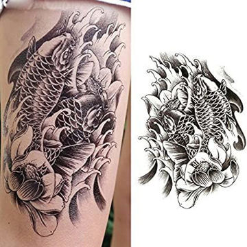 tatouage éphémère carpe noir et blanc