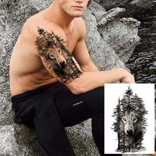 tatouage éphémère loup dans les bois