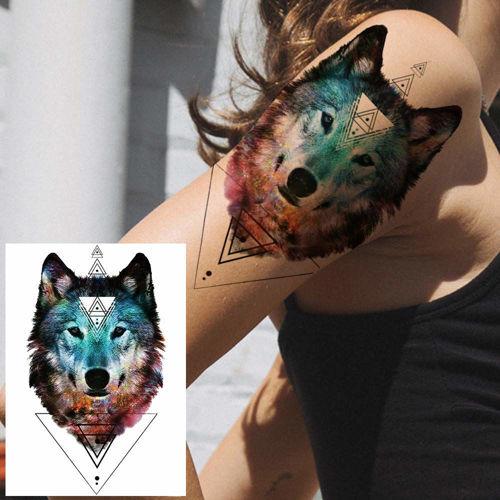 tatouage éphémère tête de loup colorée1