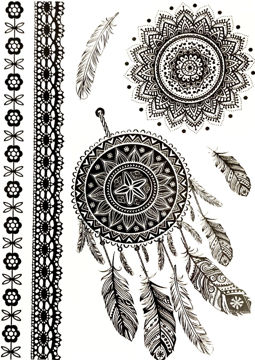 Image de Tatouage éphémère Attrape rêves, Mandala et bracelets 15x21cms