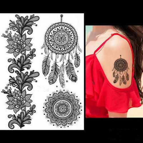 tatouage temporaire attrape rêves et mandala