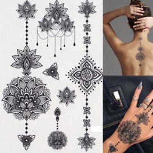 Tatouage éphémère fleur de lotus et mandala