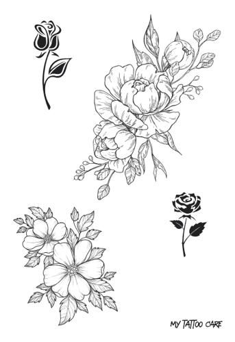 tatouages éphémères fleurs