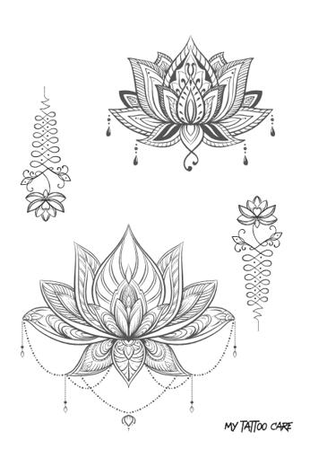 tatouages éphémères  fleurs de lotus et unalomes