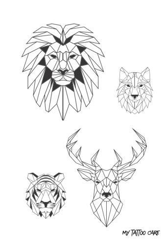 tatouages éphémères animaux graphiques