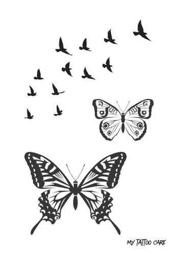 Tatouage éphémère My Tattoo Care : Papillons et oiseaux