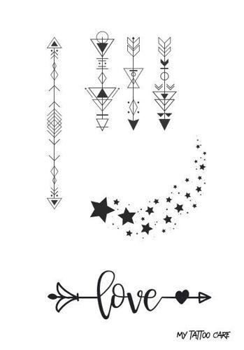 tatouage éphémère flèches et étoiles