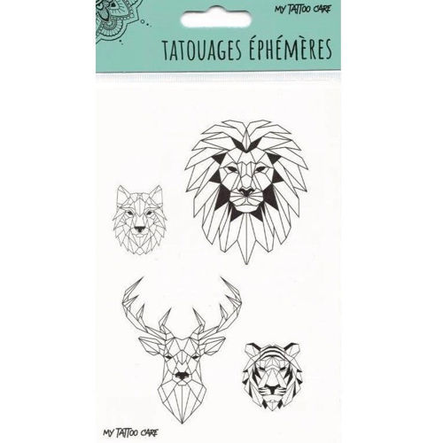 tatouage ephemere lion cerf tigre loup